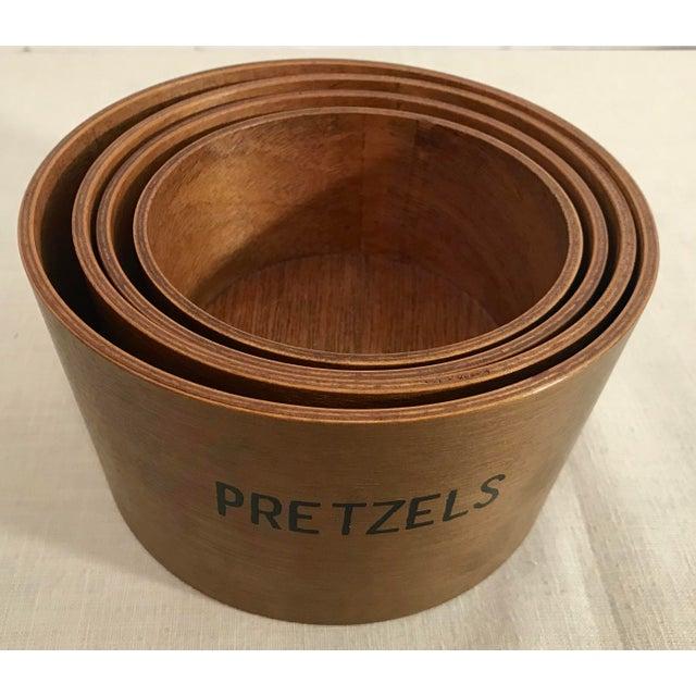 Vintage Wooden Nesting Snack Bowls - Set of 4 - Image 7 of 10