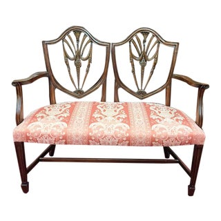 Vintage Mahogany Shield Back Settee For Sale
