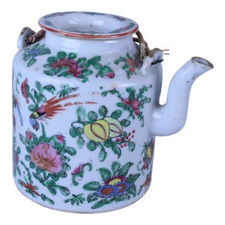 19th Century Cottage Famille Rose Teapot For Sale