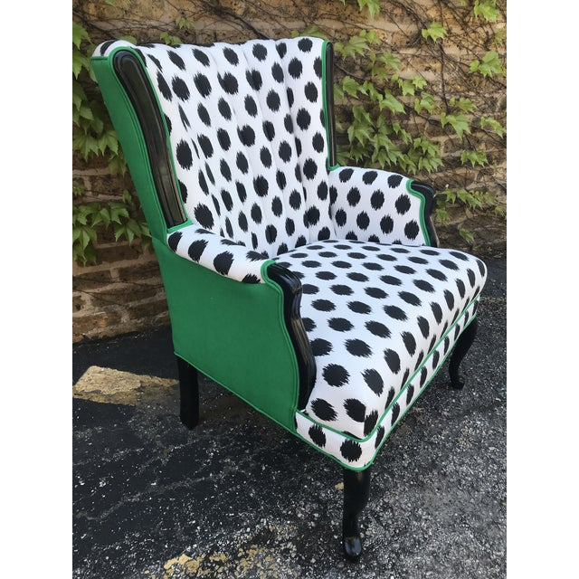 Green Vintage Modern Funky Ikat Chair For Sale - Image 8 of 8