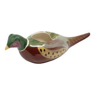 Vintage Hand-Painted Pheasant Ashtray For Sale