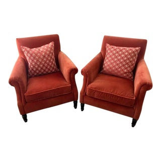 Custom Crate & Barrel Suffolk Chairs - A Pair For Sale