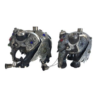 Vintage Elephant Candle Holders - a Pair For Sale