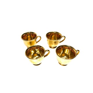 "1950s Vintage Mid Century ""Hall"" 22 Karat Ceramic Gold Mugs, Made in Usa - Set of 4 For Sale"