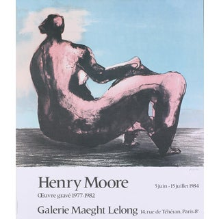 """Henry Moore Seated Woman 27"""" X 23"""" Poster 1984 Modernism Blue, Gray For Sale"""