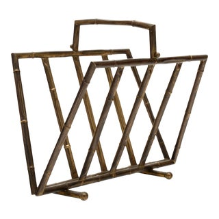 Brass Bamboo Style Vintage Magazine Stand For Sale