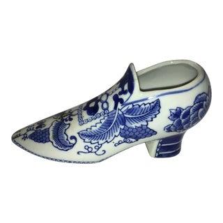 Blue & White Decorative Porcelain Shoe For Sale