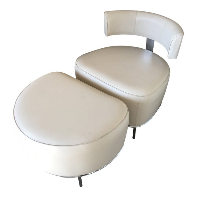 Fendi Casa White Leather Chair & Ottoman - a Pair For Sale