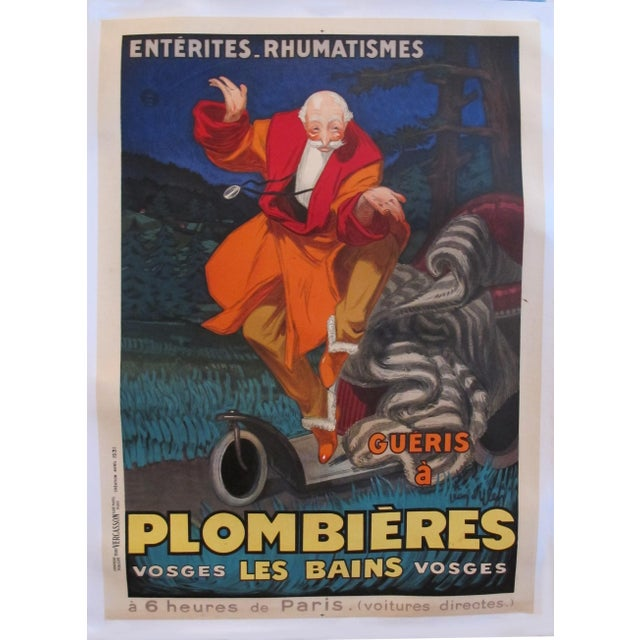 1930s 1931 Vintage French Travel Poster, Plombieres Les Bains by Jean d'Ylen For Sale - Image 5 of 5