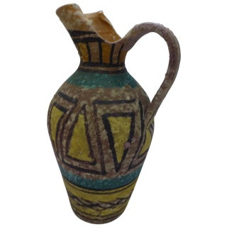 Mid Century Italian Gambone Style Pottery Pitcher For Sale
