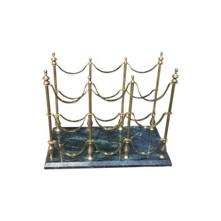 Vintage Brass & Marble Nine Bottle Wine Rack