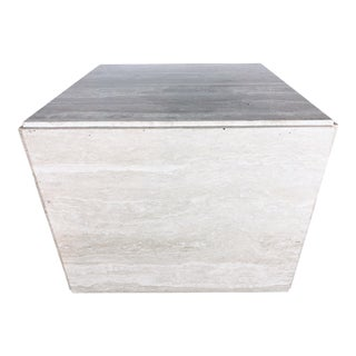1970s Mid-Century Modern Italian Travertine Pedestal or Side Table on Casters For Sale