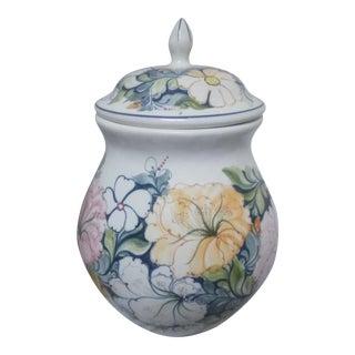 Handpainted Floral Ginger Jar For Sale