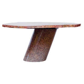 Petrified Wood Table Top With Married Granite Base For Sale