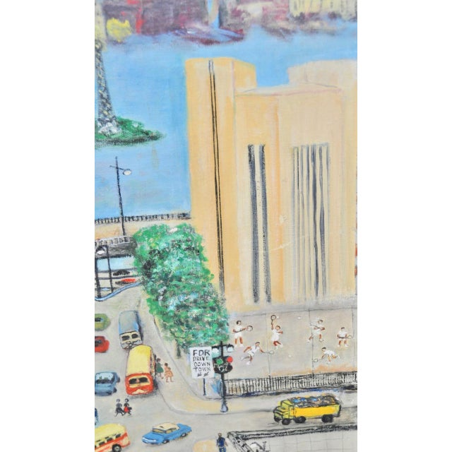 """Large Scale New York City """"United Nations"""" Folk Art Painting by Helen Mauldin C.1958 For Sale - Image 11 of 13"""