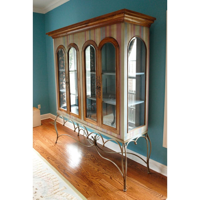 Metal Painted Mahogany Curio Cabinet For Sale - Image 7 of 13