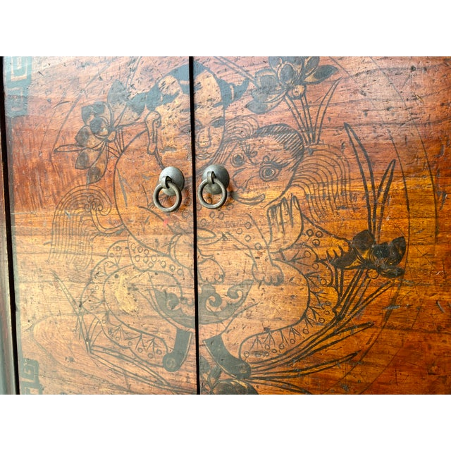 Late 19th Century Antique Mongolian Chinese 2 Door Cabinet For Sale In Tampa - Image 6 of 11