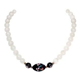 Chinese Cloisonné & Quartz Bead Necklace For Sale