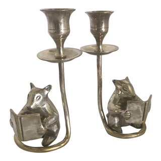 Silver Plate Mice Candle Holders - a Pair