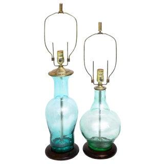 Blenko Mid-Century Seafoam & Aqua Art Glass Table Lamps - A Pair For Sale