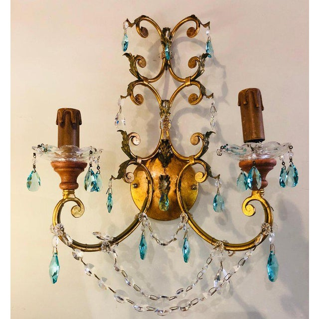 Hollywood Regency Neoclassical Handcrafted Italian Gilt Metal and Crystal Sconces - a Pair For Sale - Image 3 of 10