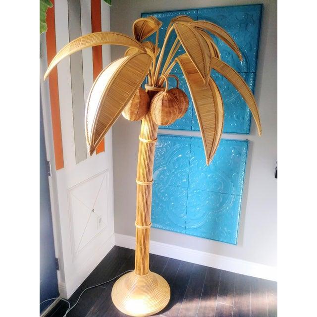 Vintage Mario Lopez Torres Massive Natural Honey Rattan Palm Beach Regency Palm Tree Coconut Floor Lamp For Sale - Image 9 of 9