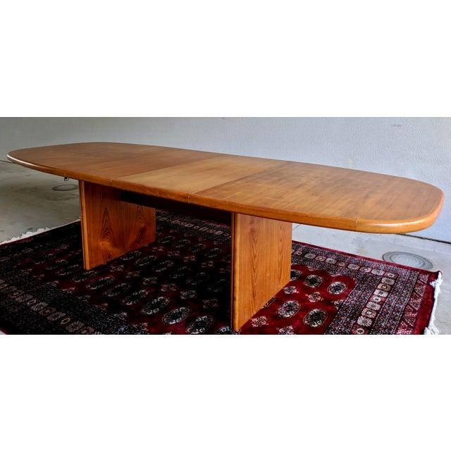 "1970s Danish Modern 110"" Teak Dining Table For Sale - Image 13 of 13"