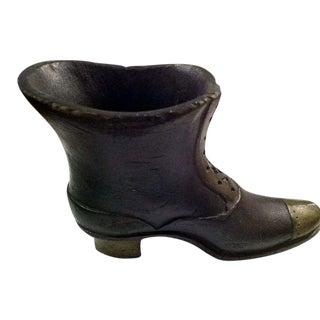 Carved Victorian Shoe Boot Holder Vase For Sale