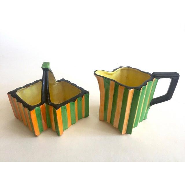 Various Artists Rare Vintage 1930's Art Deco Japan Art Pottery Hand Painted Modernist Ceramic Cream & Sugar Serving Set For Sale - Image 4 of 13