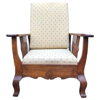 Antique Country Victorian Carved Oak Reclining Morris Chair For Sale
