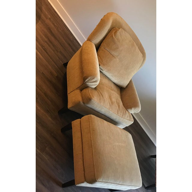 Pearson Lounge chair and ottoman professionally reupholstered & styled in Ralph Lauren khaki/mustard 100% cotton fabric....