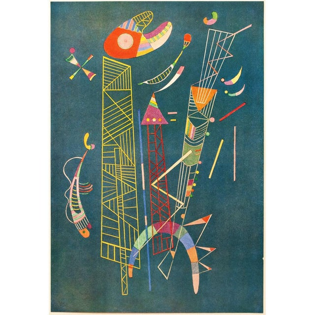 A striking vintage tipped-in paper lithograph after painting Construction Legere (Light Construction) by Wassily Kandinsky...