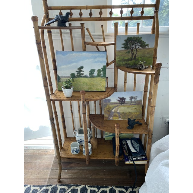Camel Vintage Asian Bamboo Etagere For Sale - Image 8 of 9
