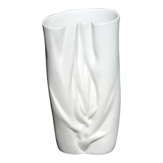 Modernist White Porcelain Meissen Vase, Stamped For Sale