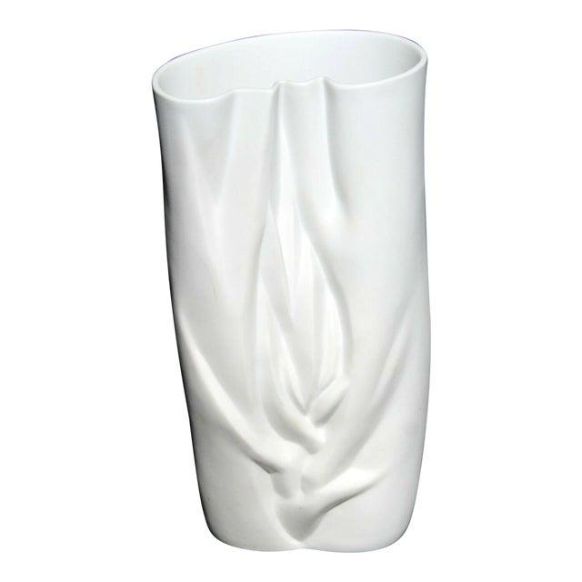 Modernist White Porcelain Meissen Vase, Stamped For Sale