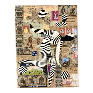 """Original Contemporary Wayne Cunningham """"Running Man"""" Abstract Collage For Sale"""
