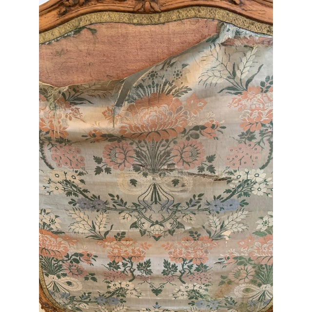 Brown Louis XV Style Antique Upholstered Fireplace Screen For Sale - Image 8 of 9