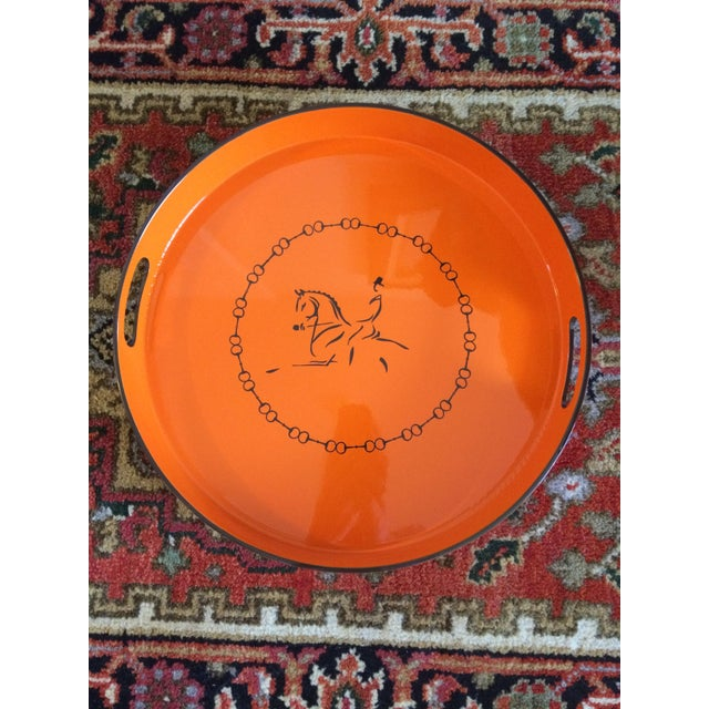 Not Yet Made - Made To Order Equestrian Motif Hermes Style Orange Lacquered Serving Bar Tray For Sale - Image 5 of 11