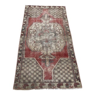 """Vintage Hand Made Faded Oushak Rug-3'3x6'3"""" For Sale"""