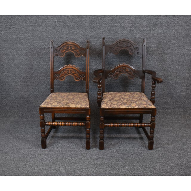 1900 - 1909 Vintage Solid Carved Dark Oak Jacobean Chairs- Set of 6 For Sale - Image 5 of 11