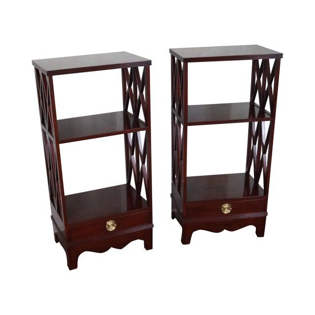 Baker Small Narrow Mahogany Bookcases - A Pair - Image 1 of 10
