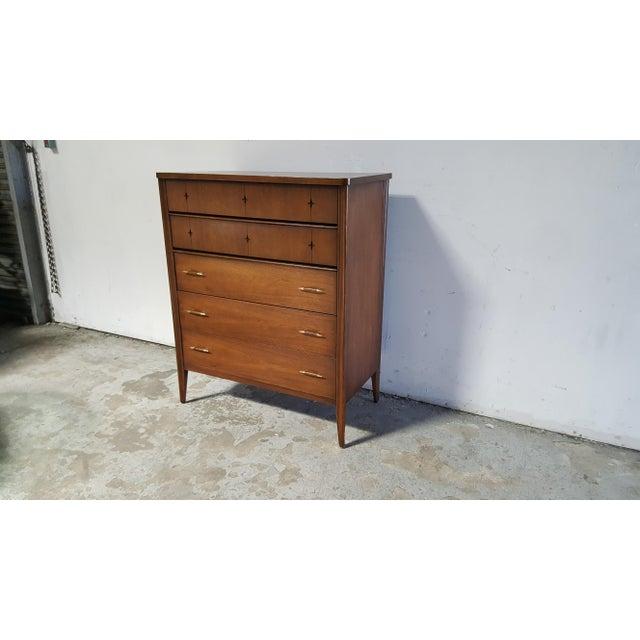 Danish Modern Mid Century Modern Broyhill Saga Walnut High Boy Dresser For Sale - Image 3 of 13