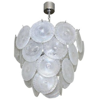 1960s Hollywood Regency Mazzega Murano Iridescent Round Disc Chandelier For Sale