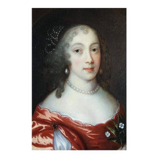 Framed Noblewoman Oil Painting on Canvas Attributed to Sir Peter Lely For Sale