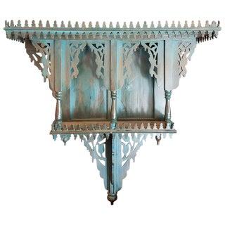 Moroccan Turquoise Reclaimed Wood Wall Shelf