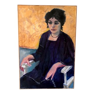 1970s Vintage Woman Seated in Chair Portrait Painting For Sale