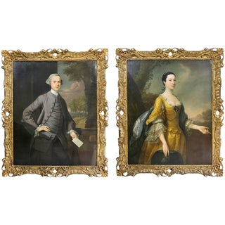 Pair of Portraits of Mr and Mrs Hillhouse by Thomas Hudson For Sale