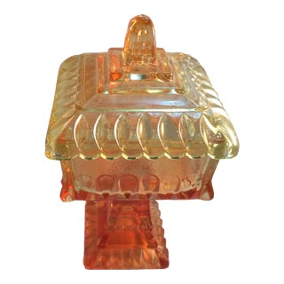 Vintage Amber and Orange Pressed Glass Dish For Sale