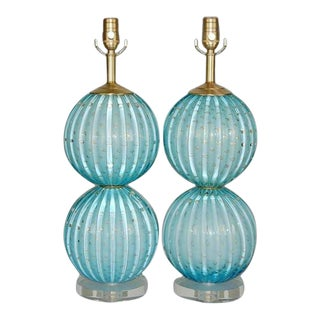 Murano Glass Stacked Ball Table Lamps Blue For Sale