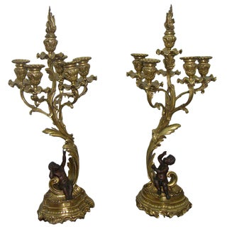 1870 Antique French Napoleon III Bronze and Ormolu Candelabras - a Pair For Sale